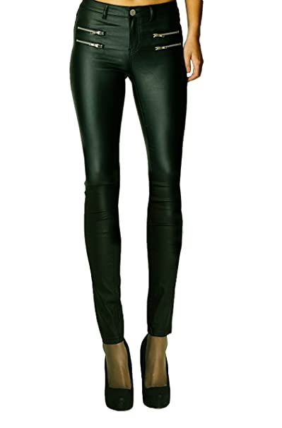 2a493e163829 Womens Wet Look Sexy Glossy PU Stretch High Waisted Faux Leather Skinny Fit  Jeans Trousers Pants RK
