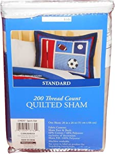 """Home Trends Kids 200 TC Cotton Rich Sports Club Quilted Sham 20""""x26"""""""