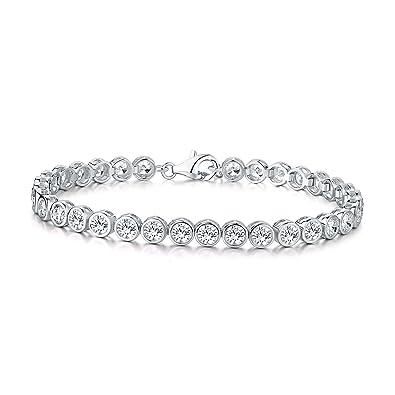 94881c221186 Diamond Treats Pulsera de Tenis de Mujer, Plata DE Ley 925 con Circonitas  Cúbicas Blancas de 4mm engastadas en Bisel Pulsera eternidad de Mujer de ...