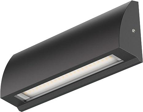 ledscom.de LED lámpara de pared Segin lámpara de escalera para interior y exterior, plano, Aufbau, negro, blanca cálida, 400lm: Amazon.es: Iluminación