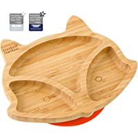 Baby Toddler Fox Cub Suction Plate, Stay Put Feeding Plate, Natural Bamboo (Orange)