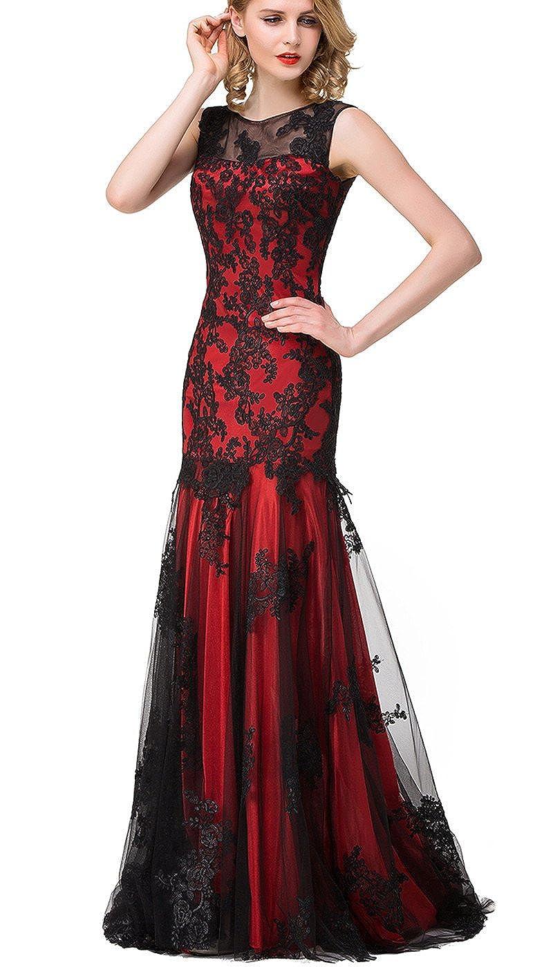 557bfbdc417ca Amazon.com: Babyonlinedress Scoop Neck Mermaid Black Lace Applique Evening  Prom Dress: Clothing