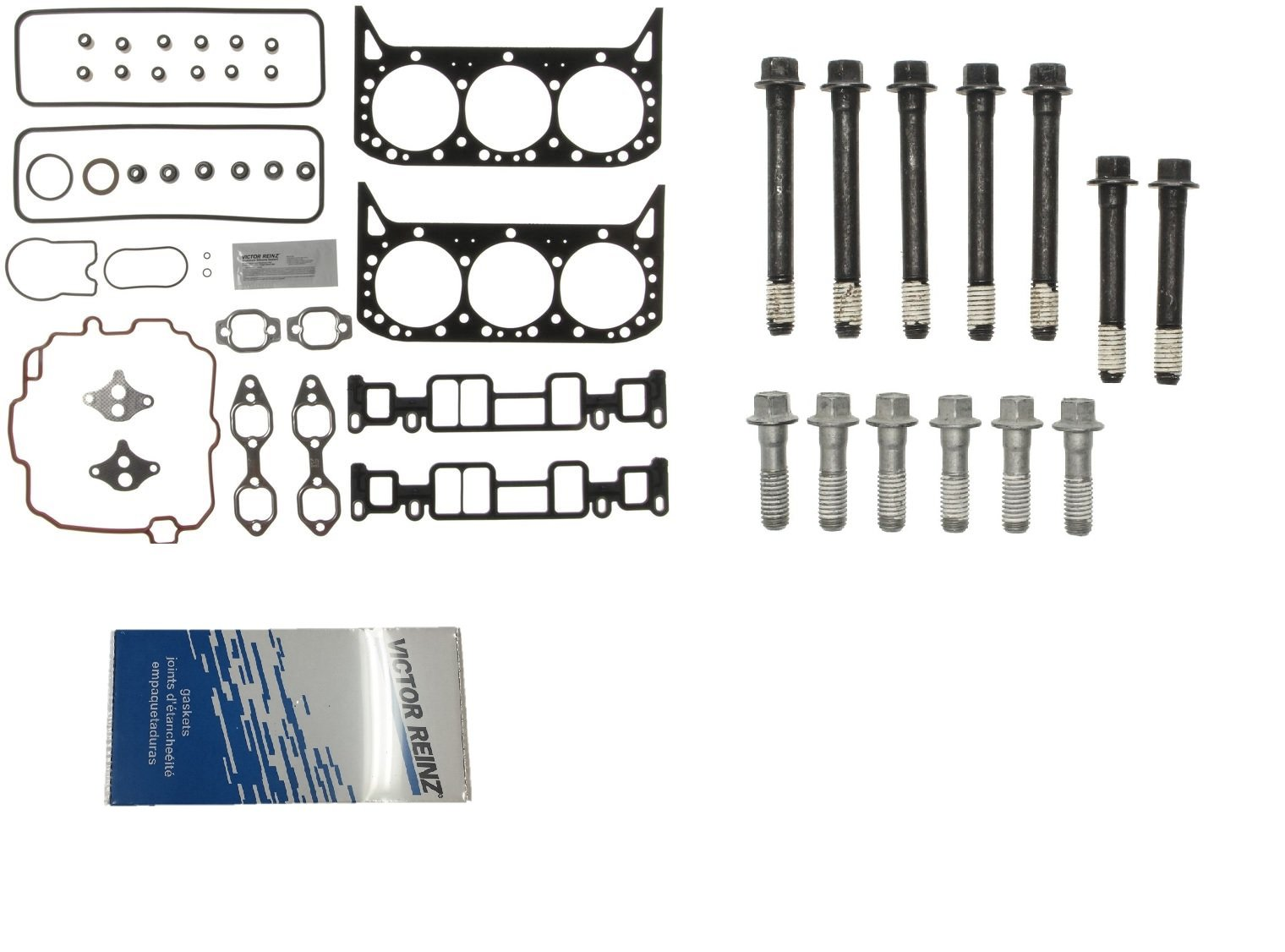 MAHLE Cylinder Head Gasket Set & BOLTS for 1996-2007 Chevy GMC 4.3 VORTEC VIN-''W'' or ''X'' (Upper Gskts & Bolts)