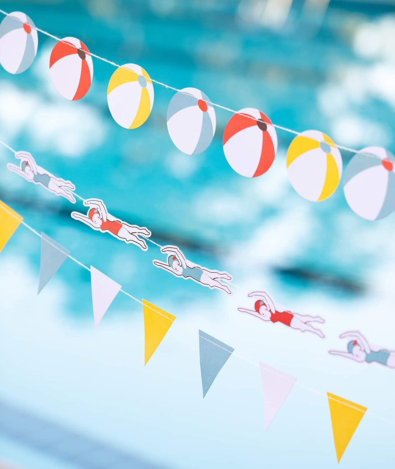 Party Decoration Pool Party Beach Theme 3 Mini Banner Set