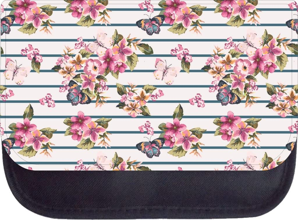 Butterflies and Flowers on Stripes Backpack and 9 x 5 x 5.5 Pencil Case SET Made in the U.S.A.