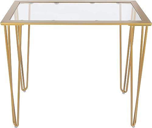 CANDIKO Gold Metal Glass Top Desk 31.5″ Wx15.7 Dx29 H