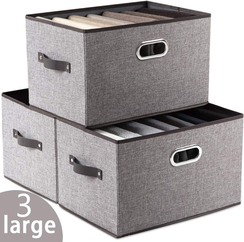 Prandom Larger Collapsible Storage Bins for Closet [3-Pack] Decorative Linen Fabric Storage Baskets Cubes with Leather/Metal Handles for Living Room Cloth Office Grey (17.3x12.2x10.4 Inch)