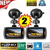 Car recorder,ZIYUO 2 PCes 1080P Full HD Car DVR Vehicle Dash Camera Video Recorder Car Dash cam with G Sensor (2.2 inch Screen)