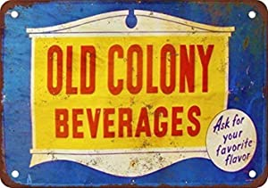 MAIYUAN Wall Decor Sign Old Colony Beverages Rustic Vintage Look Reproduction Aluminum Metal Sign 8x12 INCH (BBM4025)
