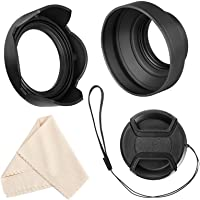 Veatree 49mm Lens Hood Set Compatible with Canon EF 50mm f/.1.8 STM, Collapsible Rubber Lens Hood with Filter Thread…