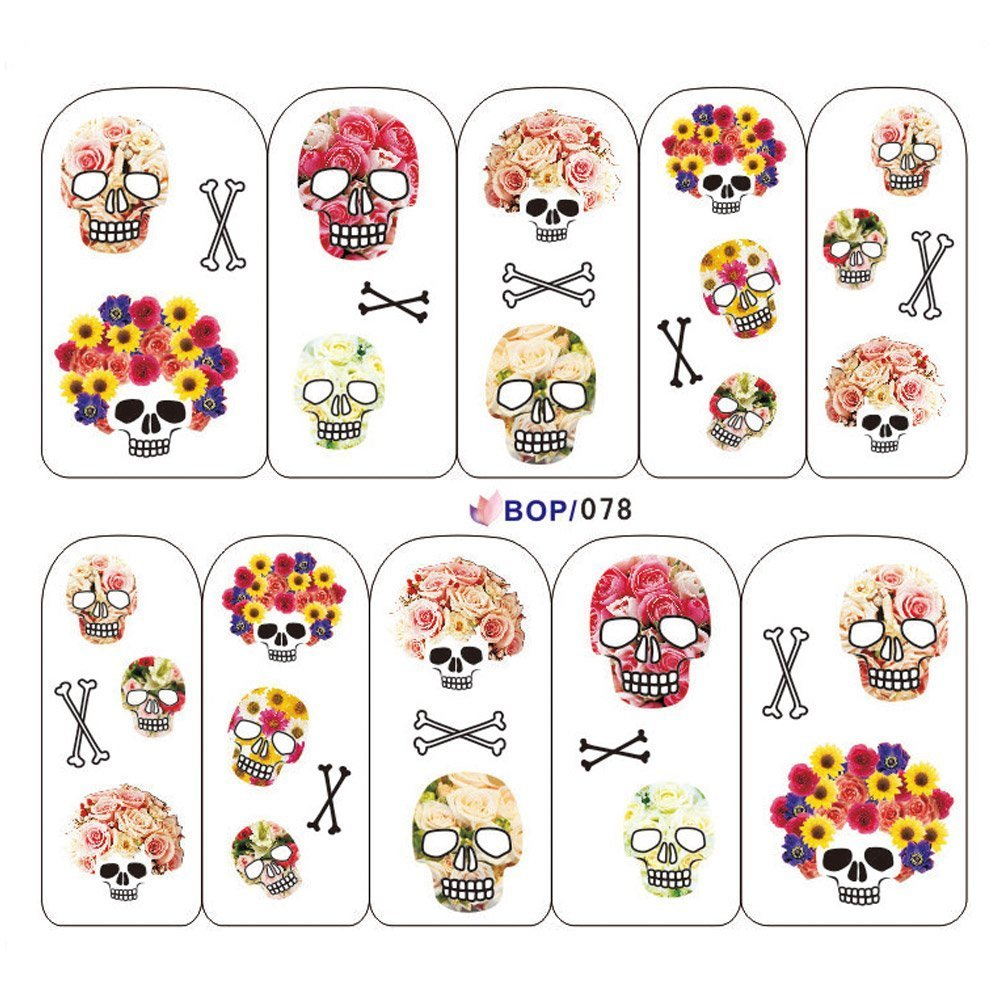 Shari Nail Decals Full WRAPS Halloween Water Transfer Stickers Nail art Decoration 078 OEM