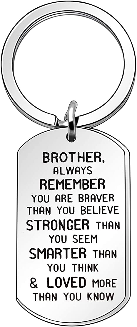 Brother Gift Inspiration Dog Tag Keychain Keyring Key Chain Ring For Men Boy Birthday Christmas Anniversary Gift Amazon Co Uk Luggage