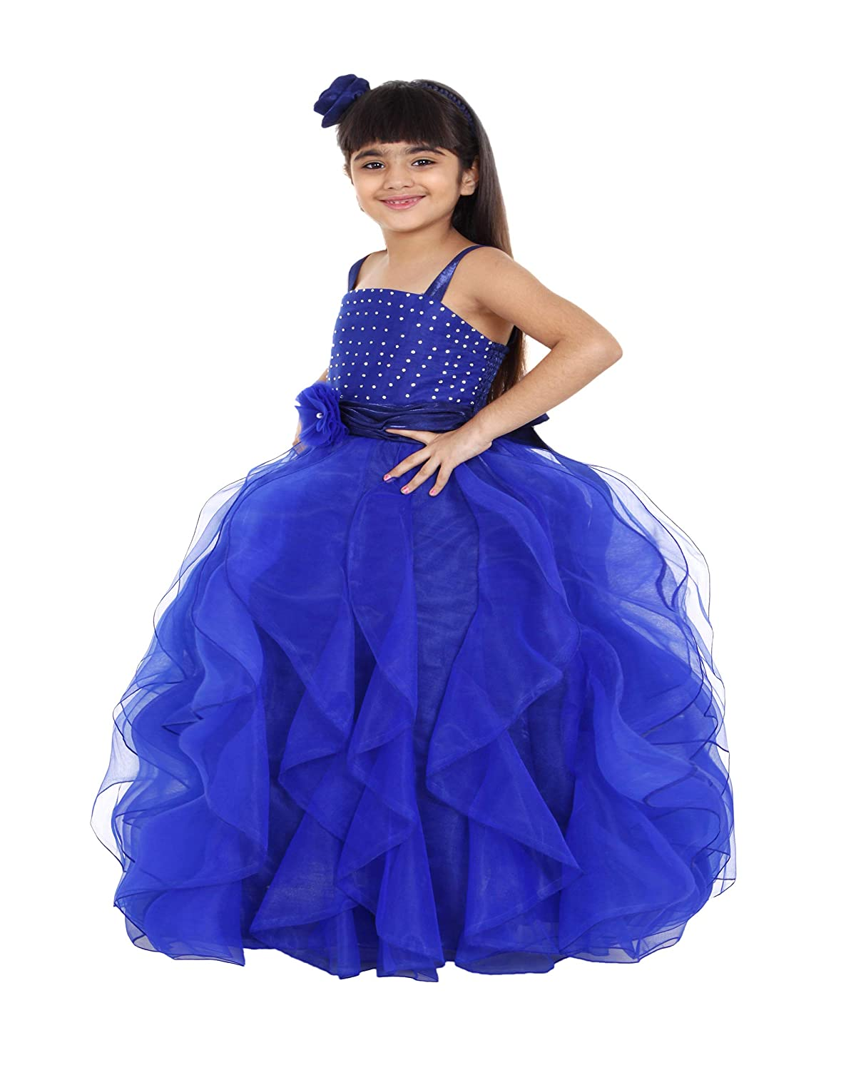 43795dbb360 Maybemine Kids Girl s Net Frill Gown Dress  Amazon.in  Clothing    Accessories
