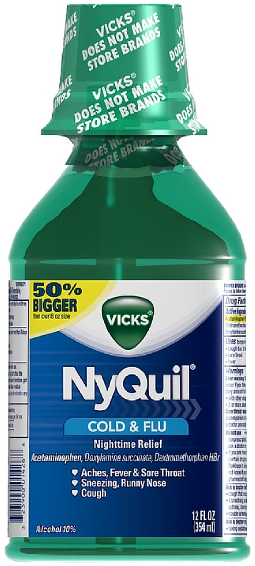 Vicks Nyquil Cold & Flu Nighttime Relief Liquid, Original Flavor 12 oz (Pack of 8)