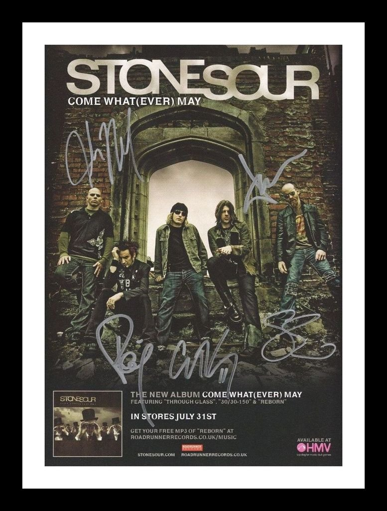Stone Sour Autographed Signed And Framed 21cm x 29.7cm A4 Photo Poster