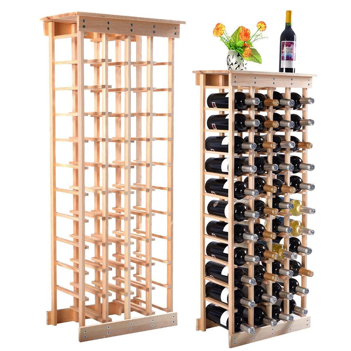 MasterPanel - 44 Bottle Wood Wine Rack Storage Display Shelves Kitchen Decor Natural #TP3355