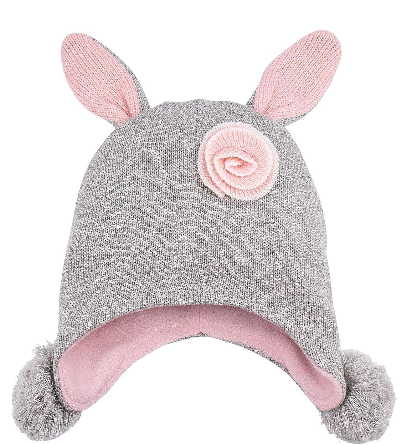 3fa36722259 Amazon.com  Eriso Toddler Girl Winter Bunny Hat Knit Rabbit Beanie Cap for  Baby  Clothing