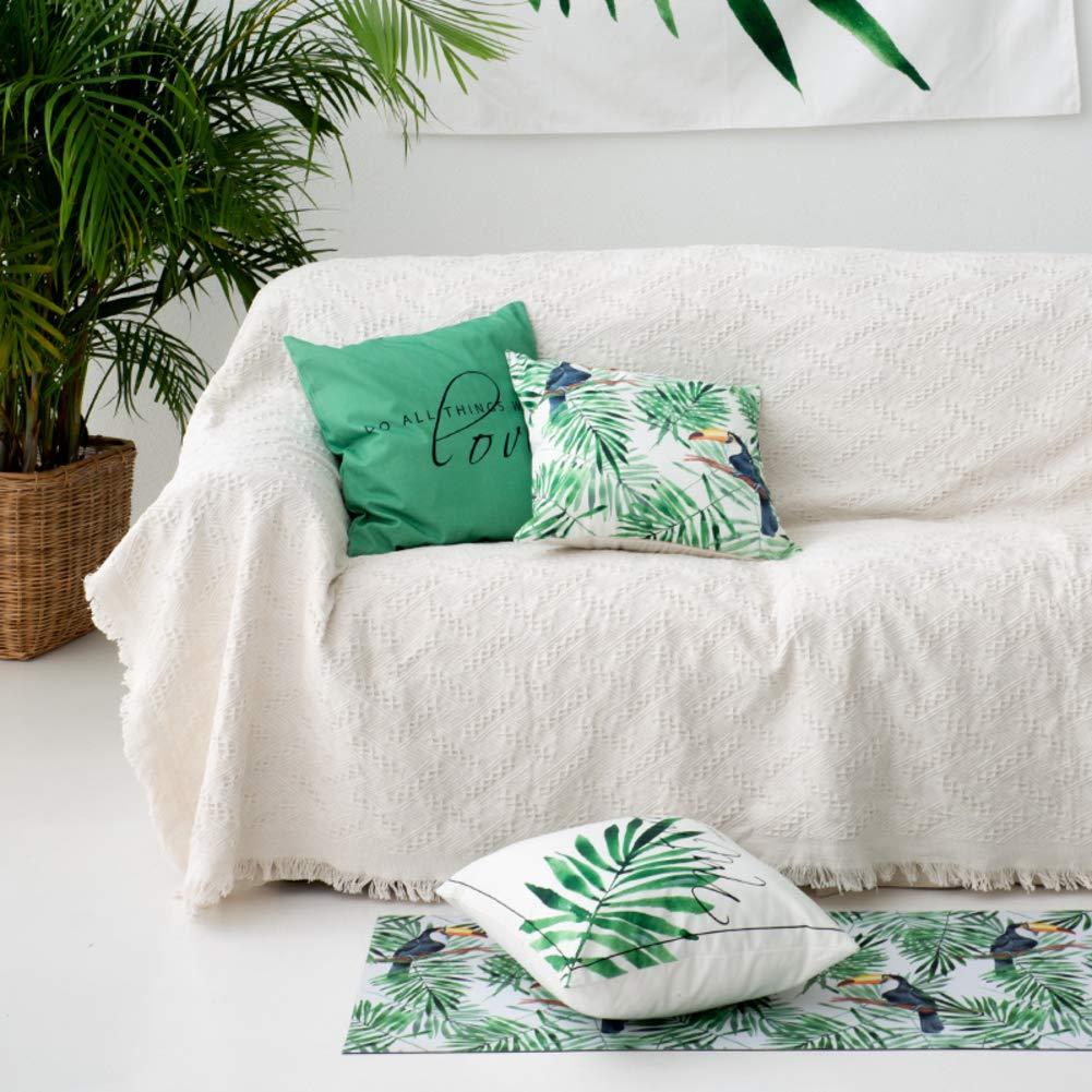 Love House Baumwolle Knitted Decke zu werfen, 1 stück Jacquard Sofa Überwurf Einfarbig Sofabezug Quaste Sofahusse-Weiß 230x250cm(91x98inch)