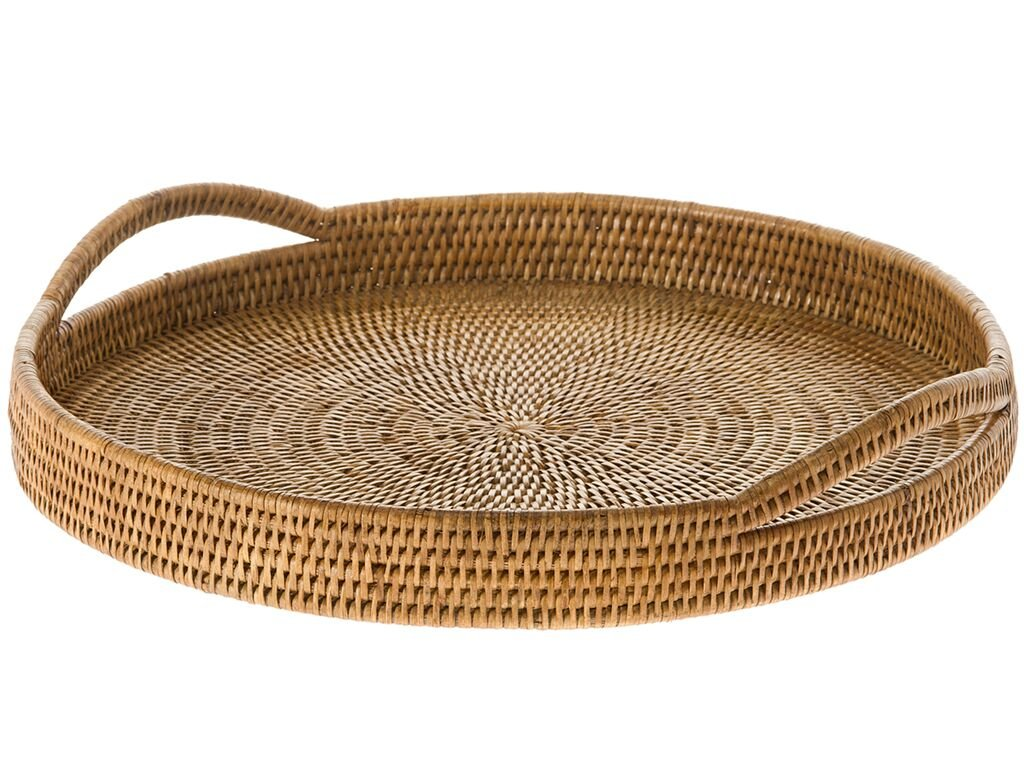 KOUBOO La Jolla Rattan Round Serving Tray, Honey Brown by Kouboo