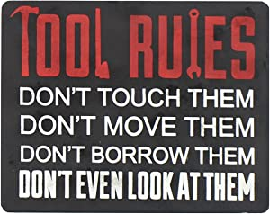 Young's Tool Rules Wood Wall Plaque, 8.5-Inch