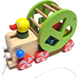 木製 プルトイ アヒル 引っ張る おもちゃ 形合わせ 型はめパズル ブロック