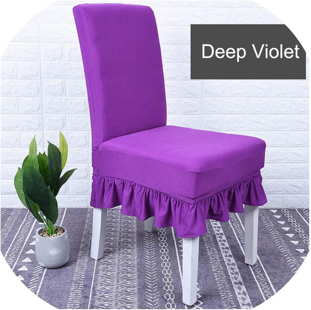 Zutty Solid Ruffled Chair Cover Spandex Stretch Elastic Seats Slipcover Removable Washable for Wedding Banquet Dining Room Hotel Party,11-Deep Violet,Universal