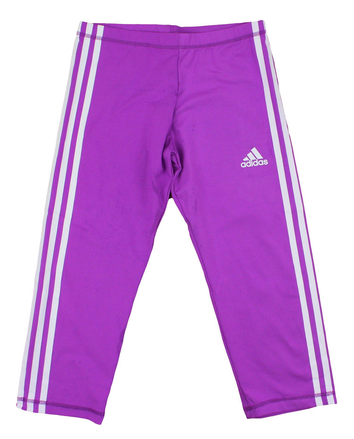 Adidas Youth Big Girls Global Capri Leggings (Large (14), Fluorescent Pink/White)