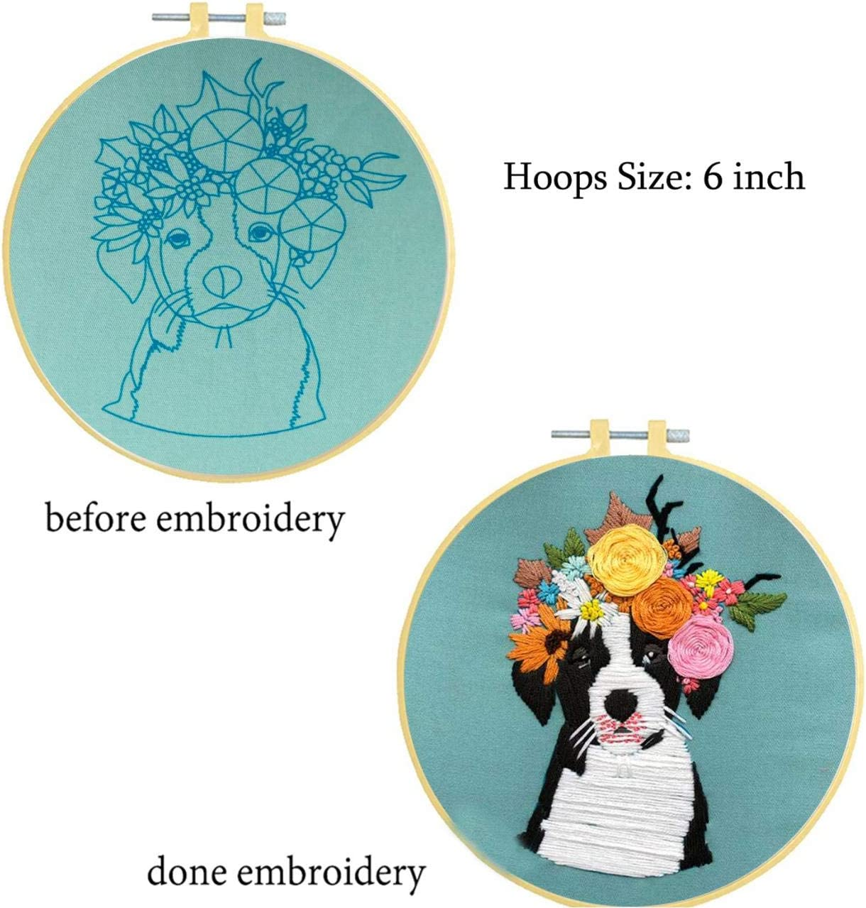 Nuberlic Embroidery Kit Cross Stitch Kit Cute Owl Starter Kit for Adults Kids Stamped with Pattern Embroidery Hoops Cloth Floss Thread Needles