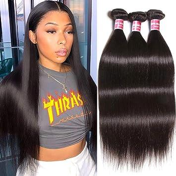 Amazon Com Buladou 10a Brazilian Straight Hair Weave Bundles 8 10