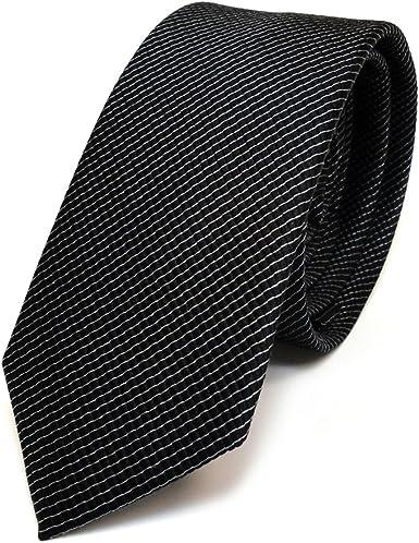 TigerTie - corbata de seda estrecha - negro gris rayas: Amazon.es ...