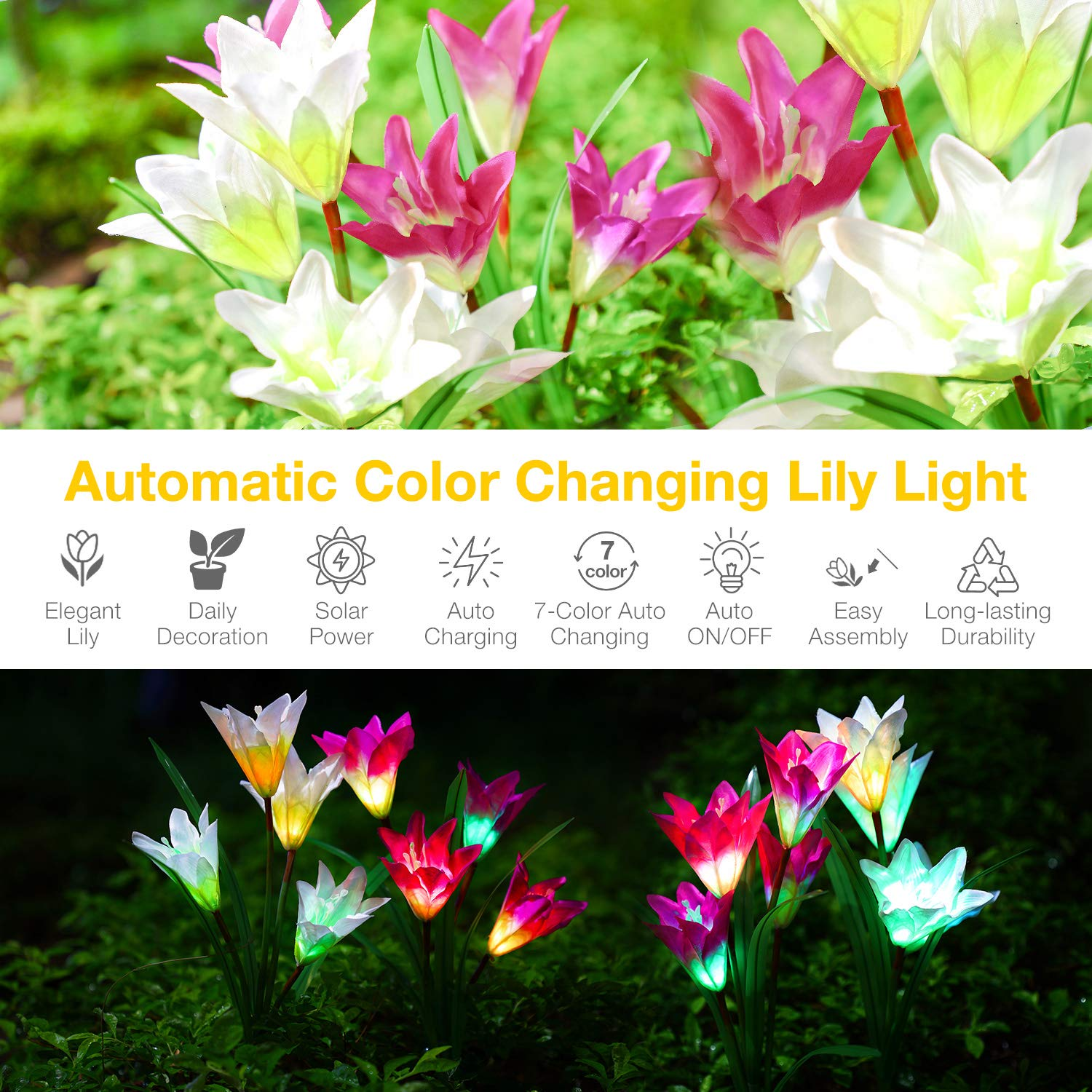 Benuo Solar Garden Lily Stake Light Outdoor Solar Powered Lily Light ...