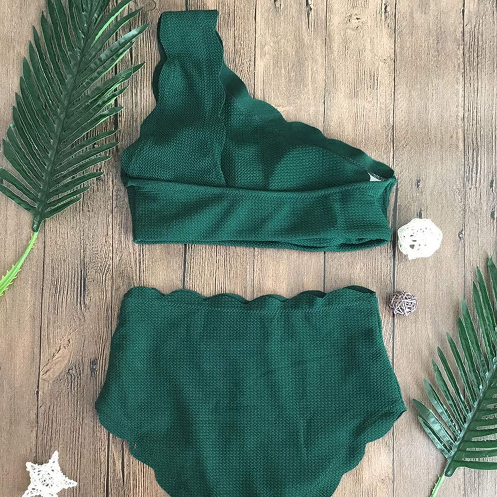 Lady Vintage High Waisted Bathing Swimsuit Two Pieces Scalloped Trim One Shoulder Bikini YunZyun Women Swimsuit Bikini Set