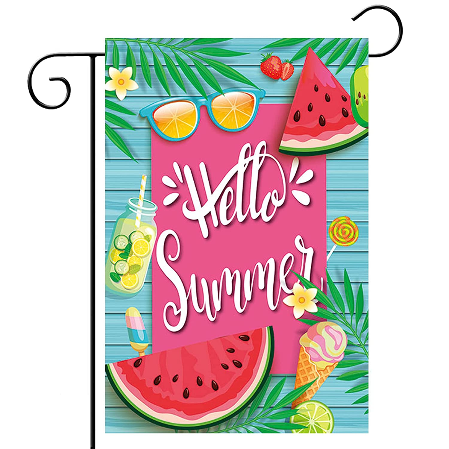 Hello Summer Watermelon Garden Flags for Outside 12x18 Double Sided Summer Tropical Hawaii Beach Vertical Garden Yard Flags Pool Home Summer Garden Decor Decorations Outdoor