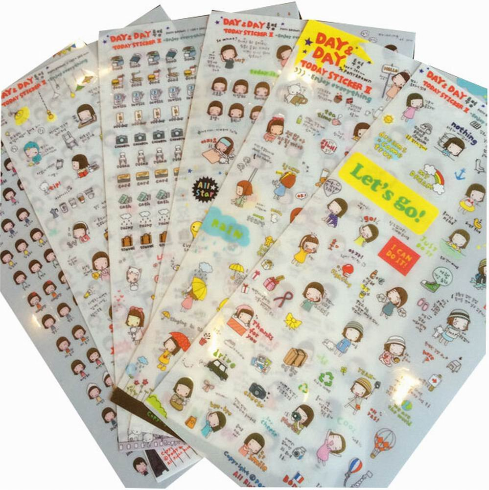 12 Sheets of Happy Girl DIY Stickers Set for Diary, Book and Photo Album