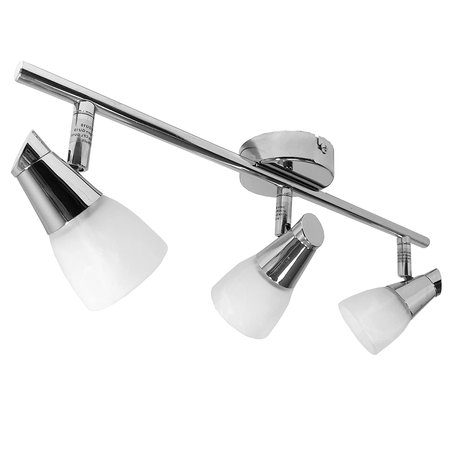 Adjustable Modern Chrome, LED Compatible GU10 Spotlight Bar Light Fitting with Decorative Patterned Opal Glass Shades (Single Head) Power