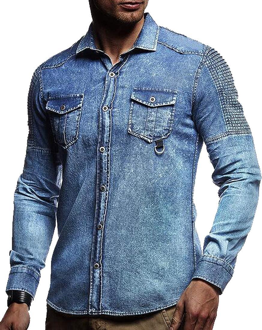 XTX Men Plus Size Long Sleeve Washed Denim Button Down Ruched Dress Work Shirt