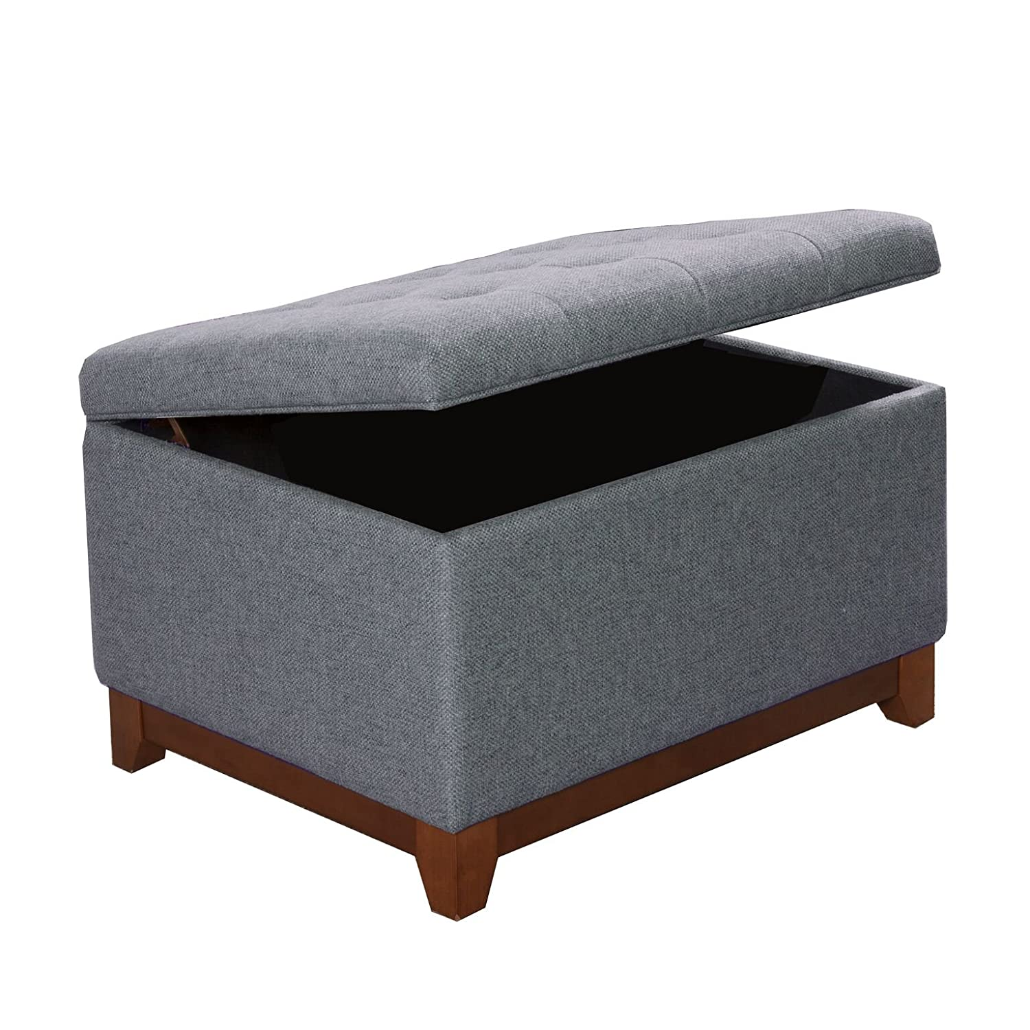 HomePop Upholstered Chunky Textured Tufted Storage Ottoman with Hinged Lid, Gray