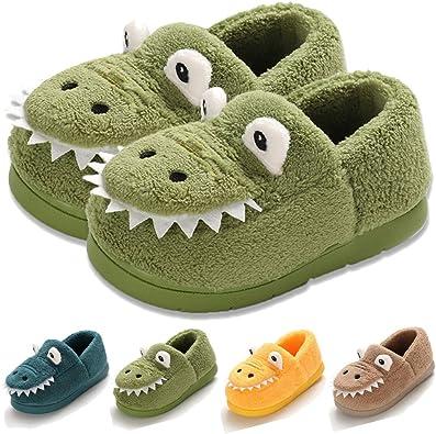 Boys Girls Slippers Warm Cartoon House Toddler Kids Fuzzy Indoor Bedroom Shoes