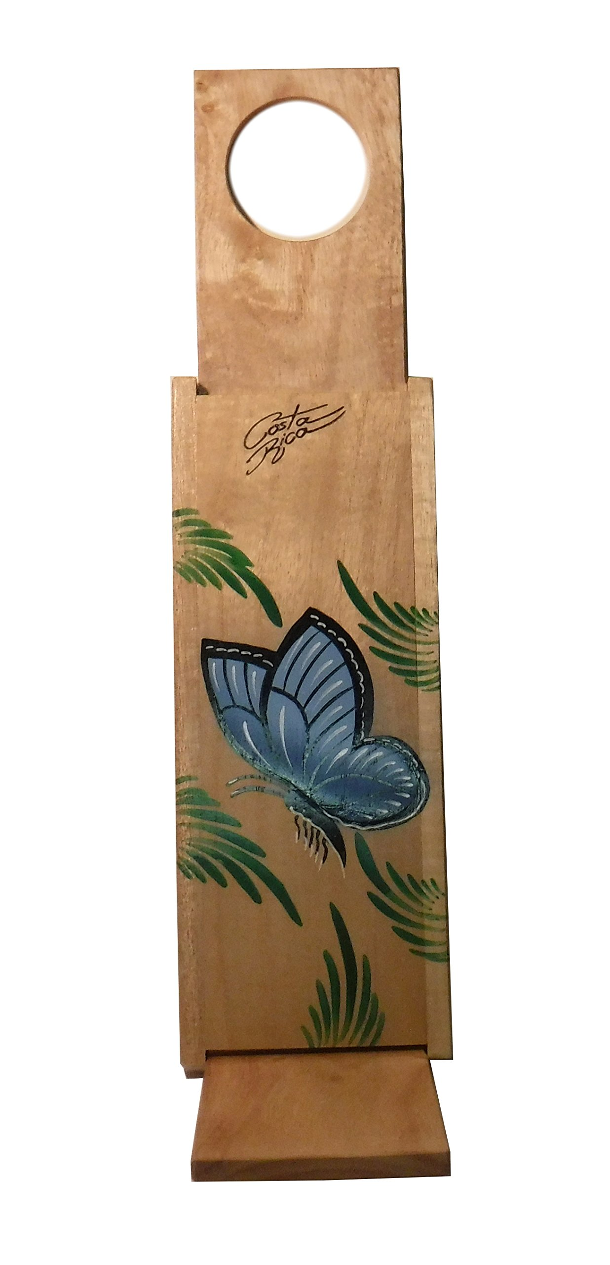 Chorreador,Costa Rican Handmade Portable Foldable Wooden Stand Coffee Maker,Included:1 Large Reusable Cloth Filter(Bolsa de Chorrear Cafe),Model:Blue Morpho Butterfly, Color:Light, Wood: Gmelina by Love Gourmet Coffee (Image #2)