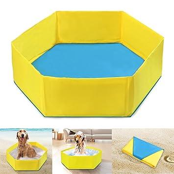 POPETPOP Bañera Plegable de Mascotas, Piscina para Perros y Gatos, Baño Portátil para Mascotas Perros Gatos Nadar Bañarse, 90 x 27 cm (Amarillo): Amazon.es: ...
