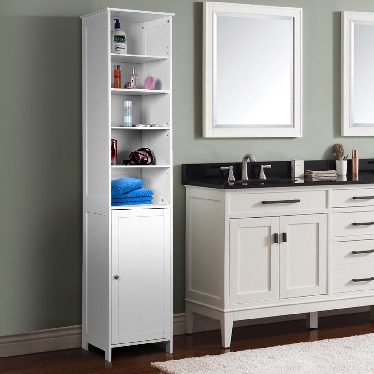 72'' Tall Cabinet, GentleShower Standing Tall Storage Cabinet, Wooden White Bathroom Cupboard with Door and 5 Adjustable Shelves, Elegant and Space-Saving