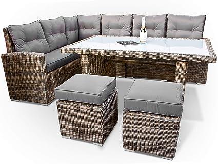 Conjunto de muebles de jardín de polirratán en esquina de marca alemana, producción propia, 8 años de garantía de resistencia a los rayos UV, muebles de jardín, mesa de polirratán de alta