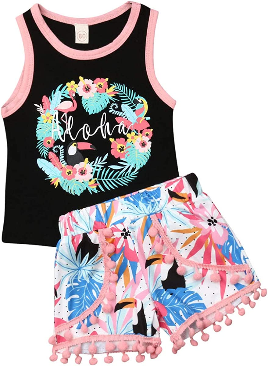 Toddler Girl Summer Clothes Floral Birds Vest Tops Tassels Shorts 2pcs Baby Girl Outfit Suit