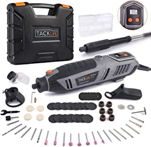 TACKLIFE Rotary Tool Kit 1.8 Amp Power with LCD Display 4 Attachment Including Flex Shaft, Shield, Grip and Cutting Guide, 61 Accessories Perfect for Crafting Projects and Home Improvement-RTD37AC