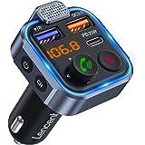 [Versão 2021] LENCENT Transmissor FM Bluetooth 5.0, Reprodutor de Música Viva-voz para Carro, Som Hi-Fi de Grave Intenso Deep