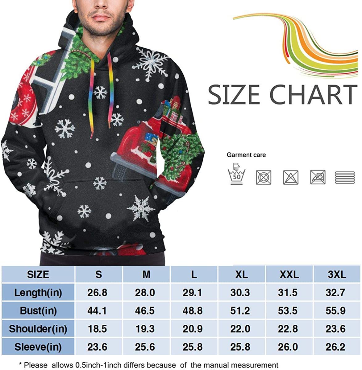 Christmas Holiday Tossed Holiday Cars with Trees Pullover Hooded Sweatshirts for Boys Mens Funny Cool Outwear