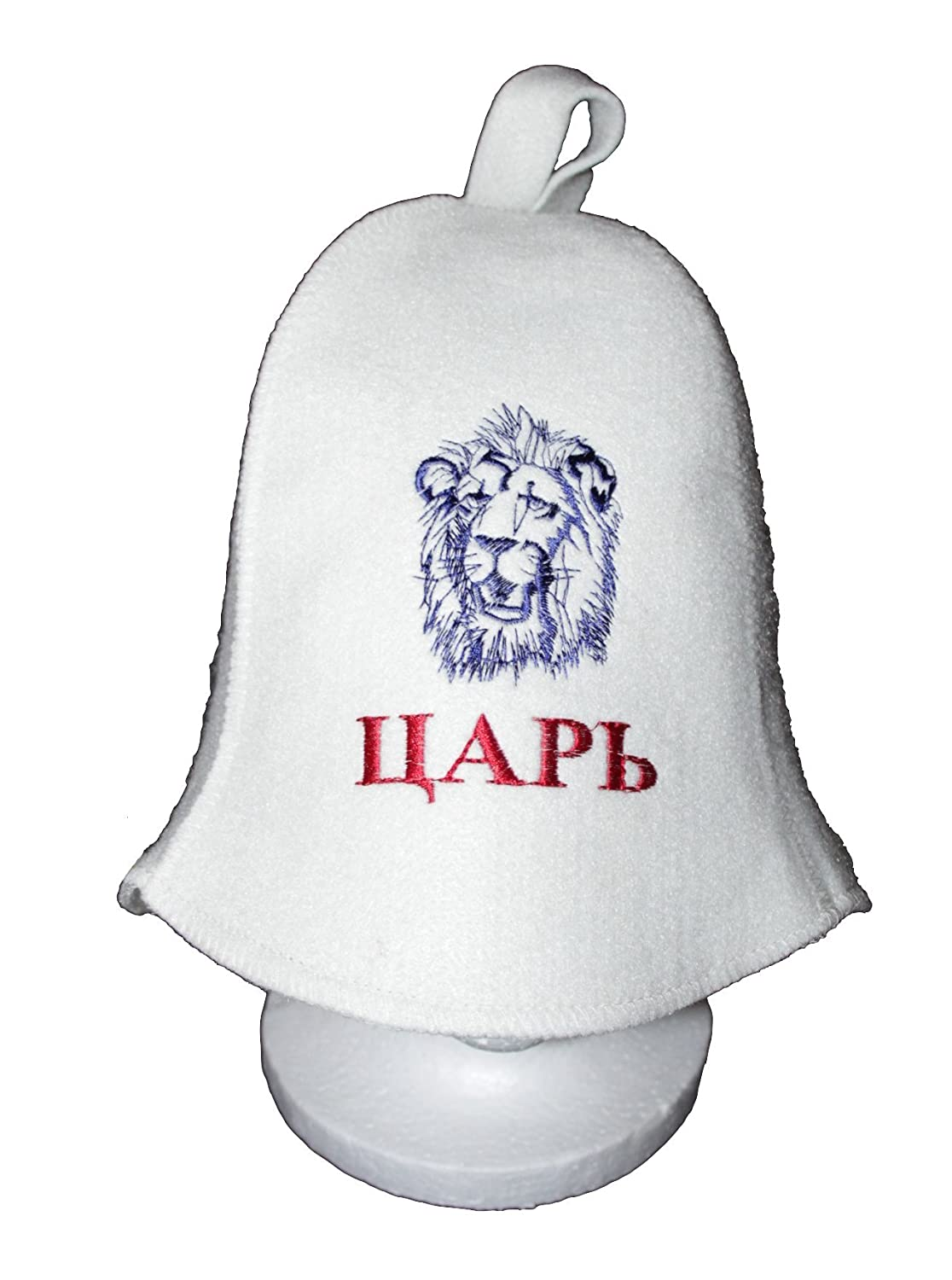 King Russian White Wool Sauna Hat with Lion Embroidery for Sauna Steamroom Banya Four Panel Square