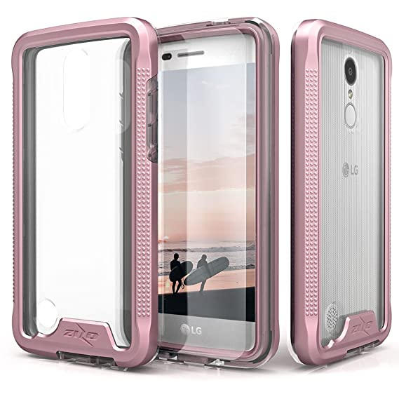new arrival 39bac 80298 Zizo ION Series Compatible with LG Aristo Case Military Grade Drop Tested  with Tempered Glass Screen Protector LG Fortune Case Rose Gold Clear