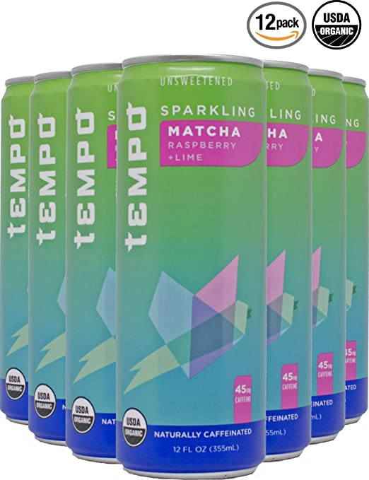 Tempo, Sparkling Tea, Sparkling Water, Matcha, Green Tea, Rapsberry, Lime, Unsweetened, Organic - 12 Ounce, 12 Count (Matcha Green Tea w/Raspberry and Lime)