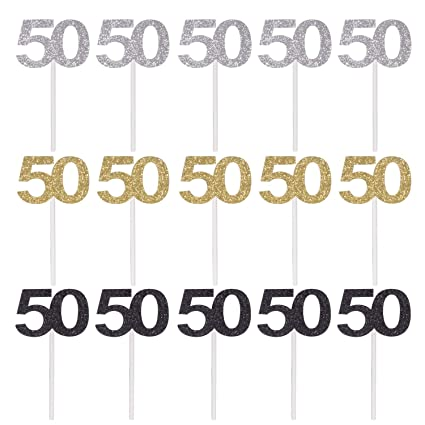 Qibote - Juego de 36 adornos para magdalenas de 50 ...
